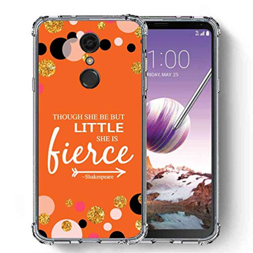 for LG Stylo 4 Case, LG Q Stylus Case, SuperbBeast Ultra Slim Thin Protective Case w/Reinforced Corners Vector Floral Flowers Polka Dots [Glitter Pattern] -