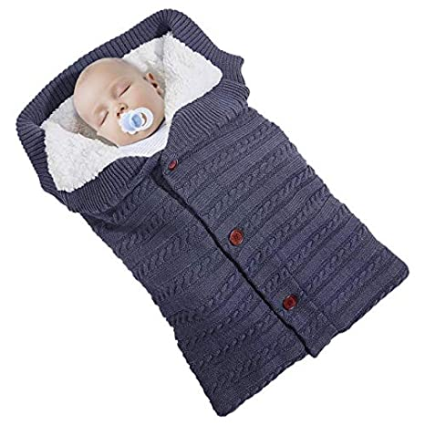 Saco de Dormir de Punto Felpa,Manta de Invierno para Bebé Recién Nacido Manta Envolvente Saco de Swaddle Manta para con Forro Polar 0-18 Meses para ...