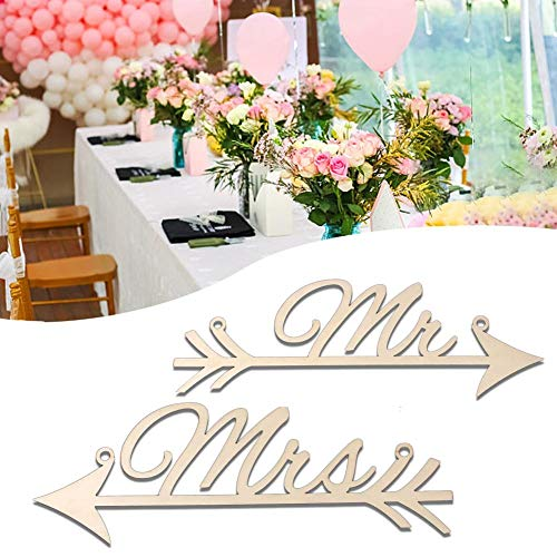 Funarrow Rustic Wood Wedding Sign Mr & Mrs Arrow Signs Chair Sign Bunting Banner for Weddings Engagements Anniversaries Bridal Showers Garden Parties