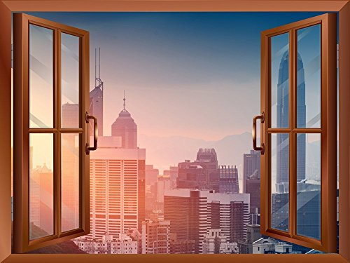 Cityscape Skyline in the Morning View from inside a Window Removable Wall Sticker Wall Mural