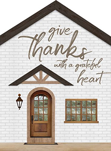 P. GRAHAM DUNN Give Thanks with A Grateful Heart House Shaped 3.5 x 4.5 Inch Pine Wood Block Tabletop Sign (Give Thanks Blocks)