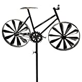 Whole House Worlds The Americana Racing Bike Garden Wind Spinner, Vintage Style, Stake Decoration, Silver With Antiqued Finish, 4 Feet 3 Inches Tall (130cm) By