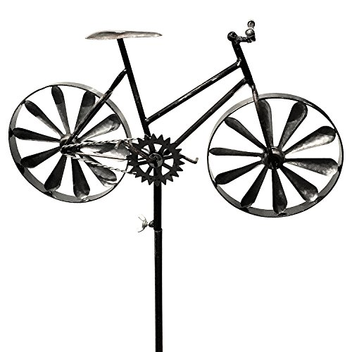 (WHW Whole House Worlds Americana Ladies Racing Bike Garden Wind Spinner, Vintage Style, Stake Decoration, Silver with Antiqued Finish, 4 Feet 3 Inches Tall (130 cm))