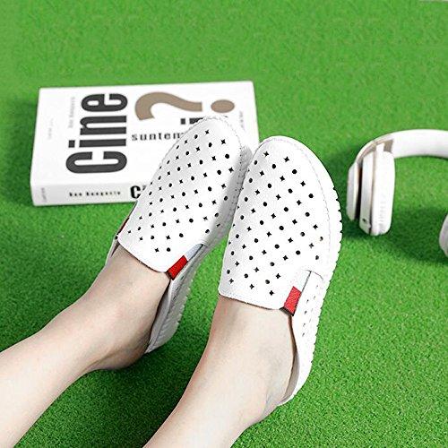 CHANCLAS SANDALS 3cm  Zapatillas de moda verano femenina desgaste exterior sandalias gruesas (Blanco / Negro) elegante ( Color : Blanco , Tamaño : EU39/UK6.5/CN40 ) Blanco