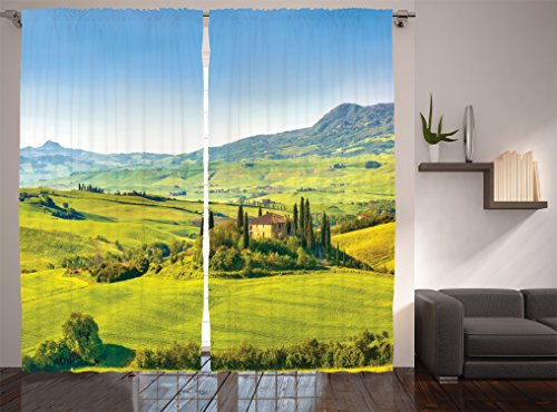 """Ambesonne Tuscan Curtains, Rural Landscape Cypresses Along The Path to Vineyard Farm House, Living Room Bedroom Window Drapes 2 Panel Set, 108"""" X 84"""", Blue Green"""