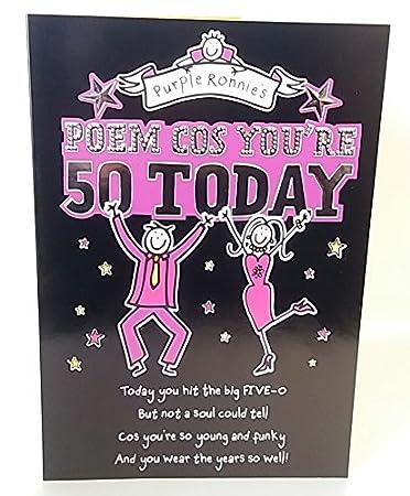 Amazon.com: Un Poema para un 50th Feliz cumpleaños tarjeta ...