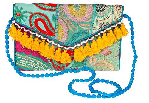 - Satchel Handbag Purse Crossbody Colorful Tassels Women Fashion Boho Coin Wallet Accessories Floral Unique Casual Hippie (Blue Serene Patchwork)