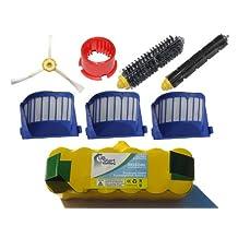iRobot Roomba 650 Battery, Filter, Bristle Brush, Flexible Beater Brush , 3-Arm Side Brush and Brush Cleaning Tool - Kit Includes 1 Battery, 3 AeroVac Filter, 1 Bristle Brush, 1 Flexible Beater Brush , 1 3-Arm Side Brush and 1 Brush Cleaning Tool