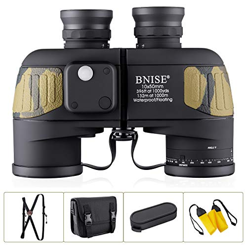 BNISE 10×50 Marine Binoculars for Adults, Waterproof Fogproof BAK4 Prism FMC Lens Binoculars with Illuminated Compass and Rangefinder for Navigation, Boating, Fishing, Water Sports, Hunting