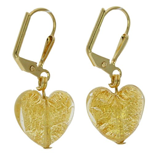 - GlassOfVenice Murano Glass Ca D'Oro Heart Earrings - Yellow Gold
