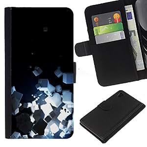 Sony Xperia Z4 / Sony Xperia Z4V / E6508 Modelo colorido cuero carpeta tirón caso cubierta piel Holster Funda protección - Light Bright Black Minimalist Cubes