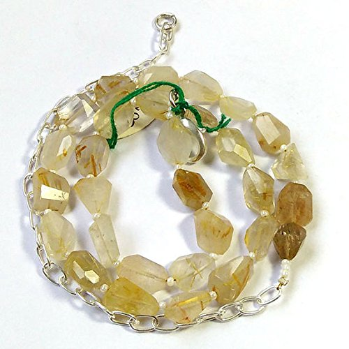 (Golden Rutilated Quartz Faceted Nuggets Necklace, One Full Strand Necklace Rutile Beaded Necklace 10-12mm 16 inch per String)