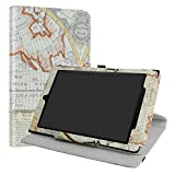 All-New Amazon Fire HD 10 Case,LiuShan 360 Degree Rotation Stand PU Leather With Cute Pattern Cover for All-New Amazon Fire HD 10 Tablet (7th Generation, 2017 Release),Map White