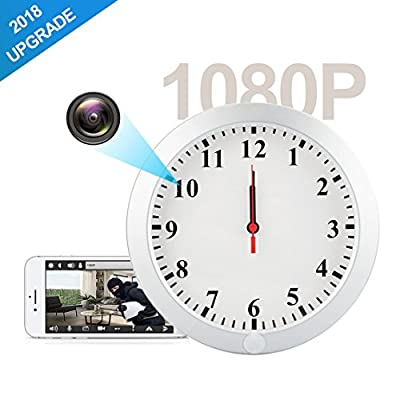 AMCSXH HD 1080P WiFi Hidden Camera Wall Clock Spy Camera with Motion Detection, Security for Home and Office, Nanny Cam/Pet Cam/Wall Clock Cam, Remote-Real Time Video, Support iOS/Android/PC from AMCSXH