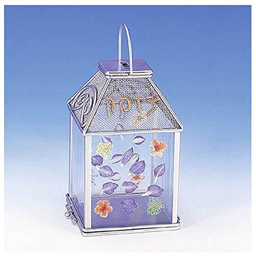 Judaica Tzedakah Charity Box Glass/Pressed Flowers/Metal - Wild Flowers