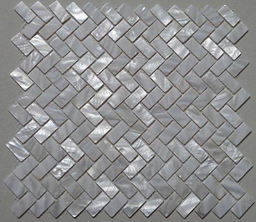11PCS white shell mosaic tile mother of pearl kitchen tile shower TV background bathroom backsplash wall zip herringbone pattern tiles
