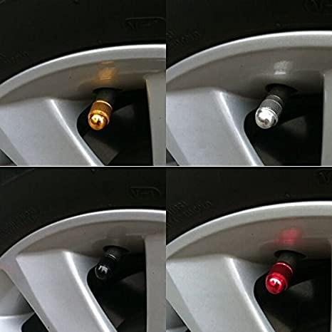 Dustproof Caps GODESON Blue Car Tire Valve Stems Cap Bullet Style Tire Valve Cap from Aluminum Tire Wheel Stem Air Valve Caps for 8V1 US Schrader Valve 4 Pcs//Set