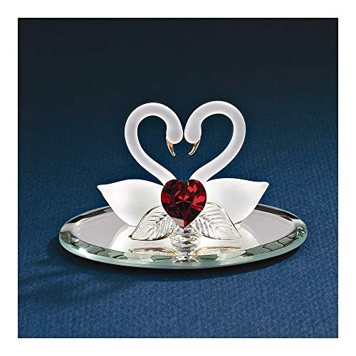 Goldia Best Birthday Gift Swan Pair with Red Heart Glass Figurine
