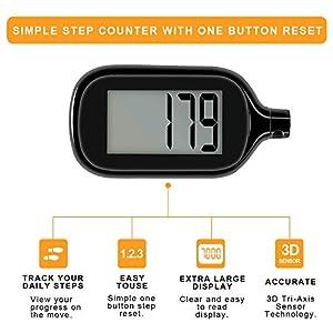 2 Pack Simple Step Counter Walking 3D Pedometer