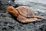 TikiMaster Carved Hawaiian Turtle Honu 12'' Natural - Hand Carved | #yu40330n
