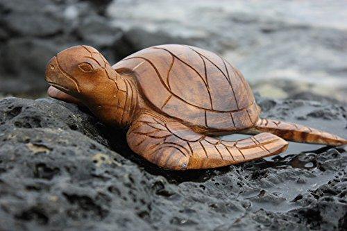 TikiMaster Carved Hawaiian Turtle Honu 12'' Natural - Hand Carved | #yu40330n by TikiMaster