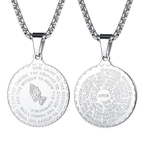 FaithHeart Bible Verse Prayer Necklace Christian Jewelry Stainless Steel Praying Hands Coin Medal Pendant (Silver)