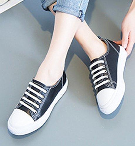 Aisun Donna Comoda Casual A Punta Arrotondata Slip On Mocassini Sneakers Moda Piattaforma Piatte Nere