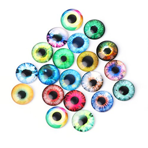 Richi 20Pcs Glass Dolls Eye DIY Handcraft Animal Eyes Jewelry Accessories 10/16/20mm(20mm)