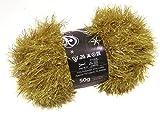 Gold Tinsel Sparkle Eyelash Chunky 50g Wool Yarn Ball Free Scarf Pattern