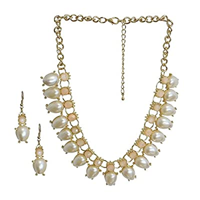 Goldtone Pink Fashion Costume Jewelry Drop Statement Necklace Earring Jewelry Set hot sale