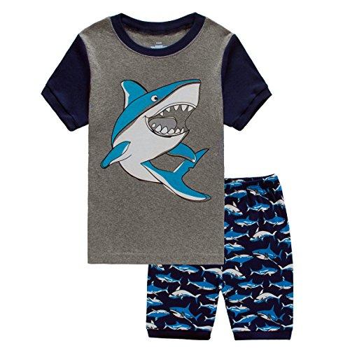 Boys Cotton Pjs (Toddler Boy Shark Pajamas 2 Piece Cotton Shorts Pjs Set for Kids Gray)