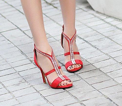 MissSaSa Femmes Sandale Bout Ouvert Talons Hauts Chaussures Soirée Rouge ZSjqVlDGJ