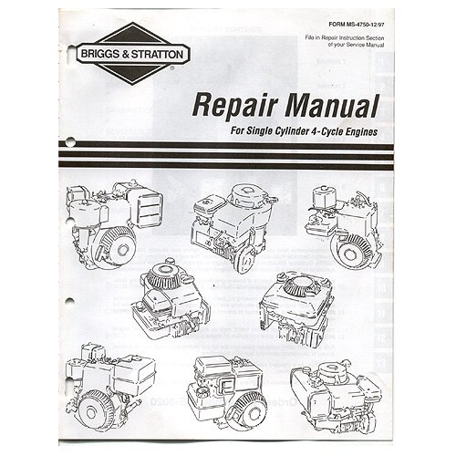 briggs stratton repair manual for single cylinder 4 cycle engines rh amazon com briggs and stratton repair manual #1330 briggs and stratton repair manual 1330