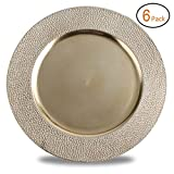 FANTASTIC :)  Round 13 Inch Plastic Charger Plates with Metallic Finish (6, Stone Edge Gold)