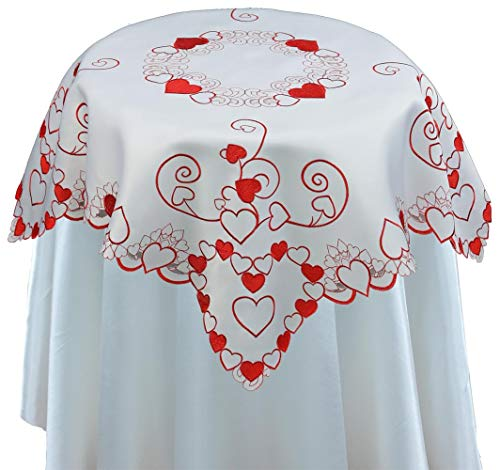 Creative Linens Embroidered Red Hearts Placemats, Table Runners, Tablecloths for Valentine's Day, Mother's Day, Wedding, Anniversary Decoration (34