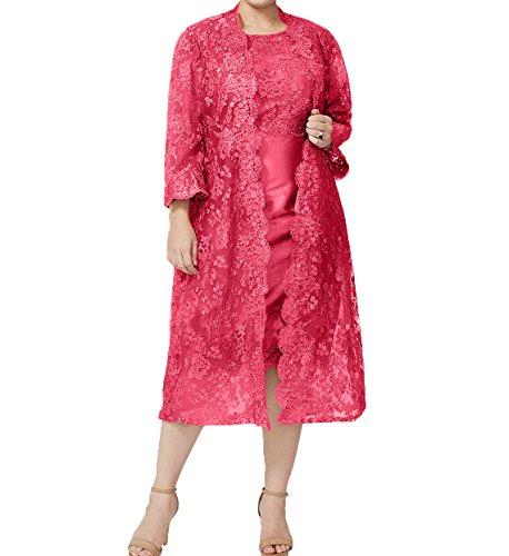 Spitze Festlichkleider Knielang Wassermelon mit Promkleider Brautmutterkleider Charmant Damen Jaket Abendkleider Damen YqF88w