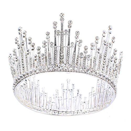 Silver Crystal Crown Pin (Stuffwholesale Women Wedding Tiara Pearl Bead Silver Plated Rhinestone Crown Hair Jewelry with Bobby Pins (Silver))