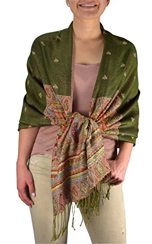 (Peach Couture Ethnic Design Tribal Border Reversible Bohemian Pashmina Shawl Green)
