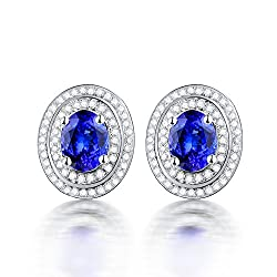 Diamond Studded White Gold Tanzanite Earrings