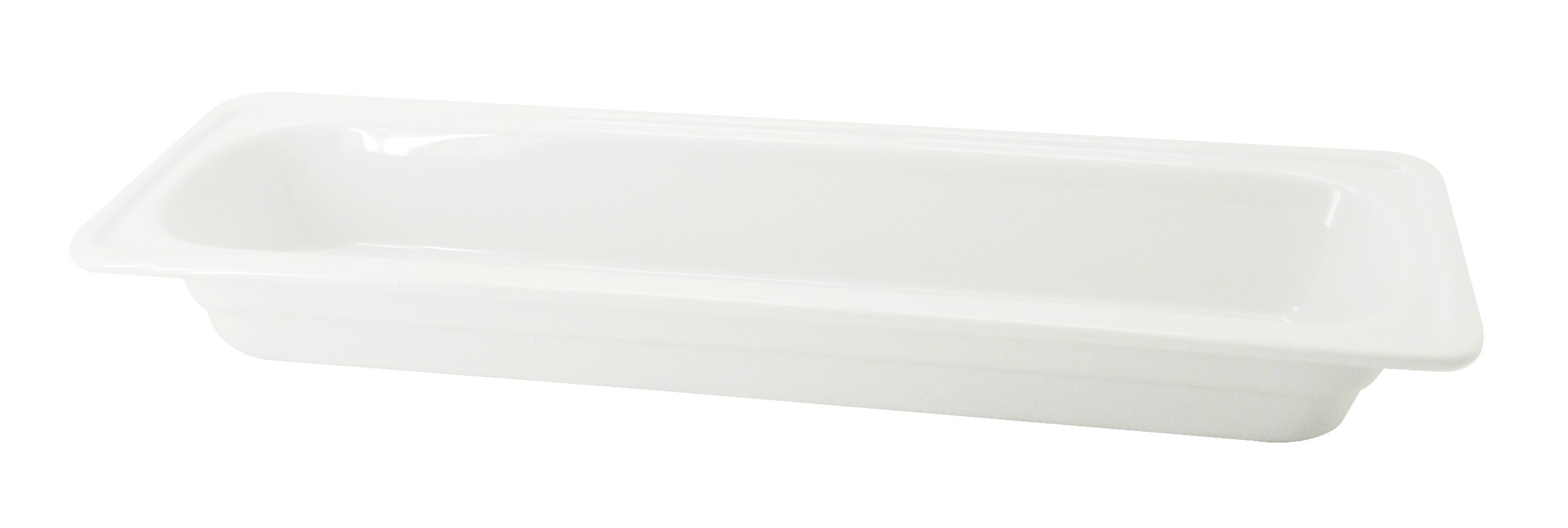 CAC China BF-204 Food Pans Bright White Porcelain 2/4 GN Pan, 20-7/8 by 6-3/8 by 2-1/2-Inch, 8-Pack