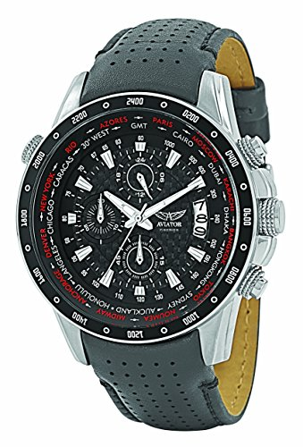Aviator Pilot Chronograph Watch - Aviator Chronograph Wrist Watch – Aviators Watch for Men – Leather Strap Stainless Steel Wristwatch – Waterproof Carbon Fibre Dial Colour Watch – Sport and Casual Comfortable Wrist Watch