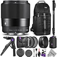 Sigma 30mm F1.4 Contemporary DC DN Lens for SONY E Mount Cameras w/ Advanced Photo and Travel Bundle