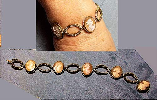 A 5 Cameo Bracelet Vintage Hand Carved Carnelian Shell 5 Cameo Brass Twisted Rope Settings Bracelet. 5 Different Works of Art 1940 Master Carver OOAK ()
