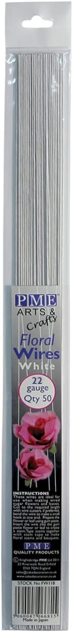 PME Sugarcraft Floral Wires White 22 Gauge, 14 Inches Long, Pack of 50