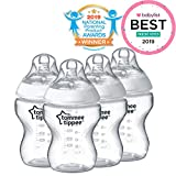 Tommee Tippee Closer to NatureBaby Bottle, Anti-Colic Valve, Breast-like Nipple for Natural Latch, BPA-Free- Slow Flow, 9 Ounce, 4 Count