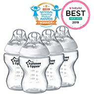 Tommee Tippee Closer to Nature Baby Bottle, Anti-Colic, Breast-like Nipple, BPA-Free - Slow Flow, 9 Ounce (4 Count)
