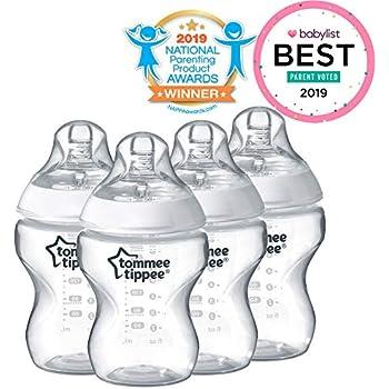 Tommee Tippee Closer to Nature - Botella para bebé, 4 unidades, Translúcido, 9 Ounce (4 Count)