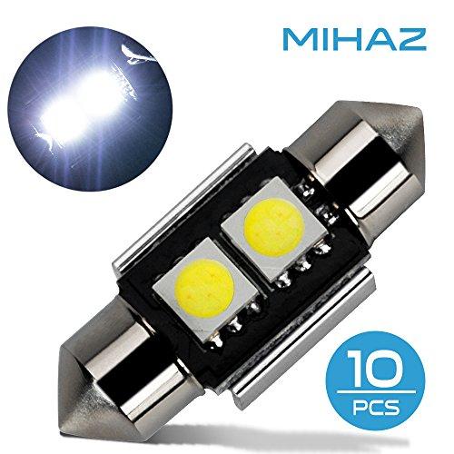 MIHAZ 10x 31mm / 36mm / 39mm / 42mm Kann-Bus Störung Freies Festoon 2SMD 4SMD 6SMD 8SMD 9SMD 12SMD W5W C5W 5050 LED SMD Birnen für Autoinnenleuchten oder Kennzeichen-LED-Birnen