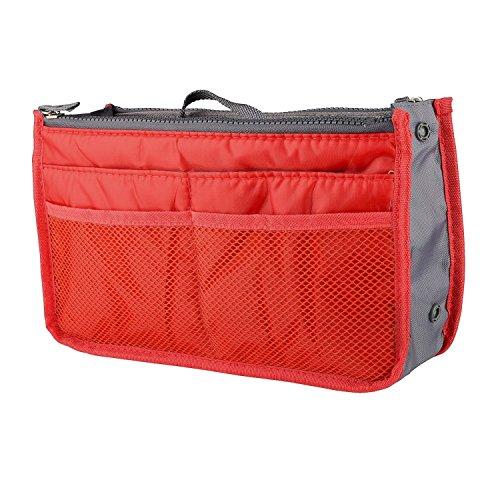 "Zodaca Travel Kit Organizer Handbag Insert Tidy Travel Cosmetic Bag Toiletry Bag (11.2"" x 6.7"" x 2.95""), Orange"