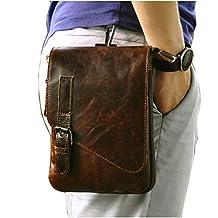 Le'aokuu Men Genuine Leather Small Messenger Bag Fanny Waist Bag Hip Bum Belt Pack Phone Pouch 611-1 (611-1 coffee-large size)